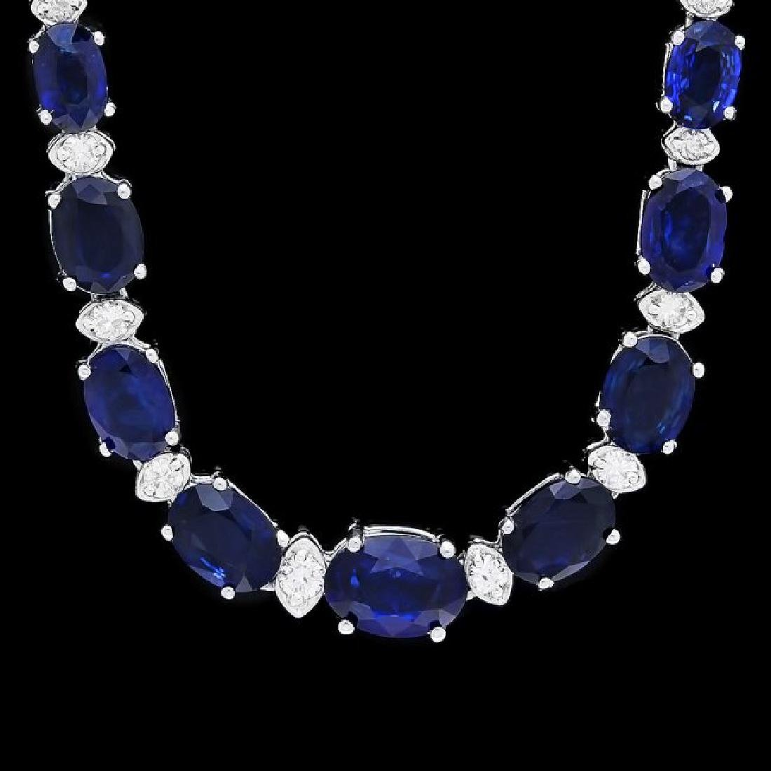 14k Gold 30ct Sapphire 1.20ct Diamond Necklace