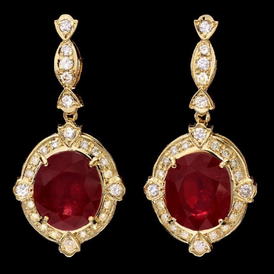 14k Gold 22.00ct Ruby 1.40ct Diamond Earrings