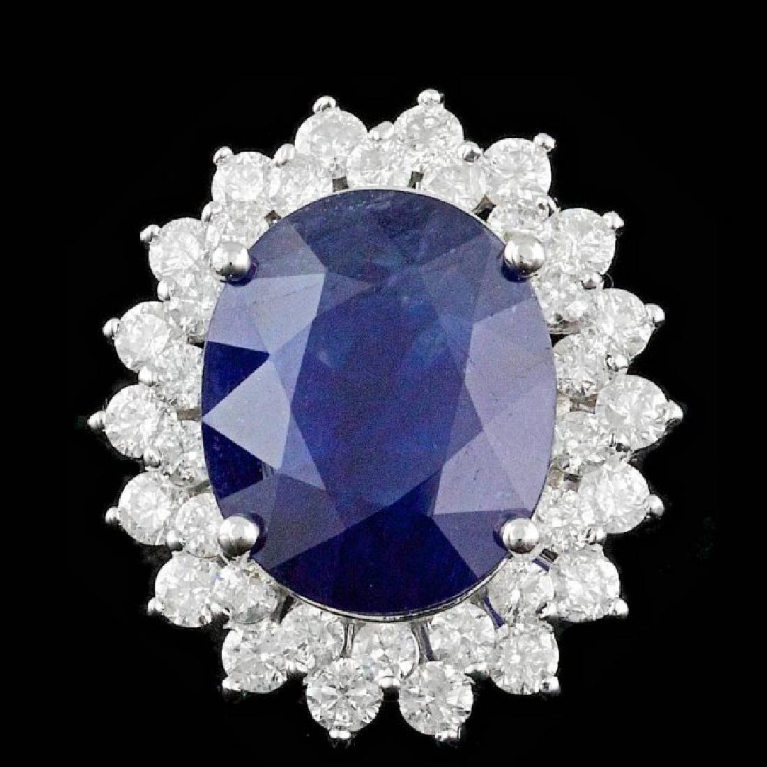 14k Gold 11.00ct Sapphire 2.50ct Diamond Ring