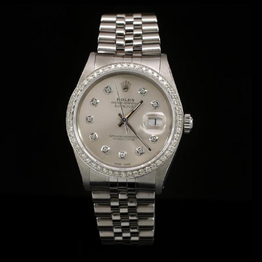 Rolex DateJust SS 36mm Custom Diamond Bezel Men's