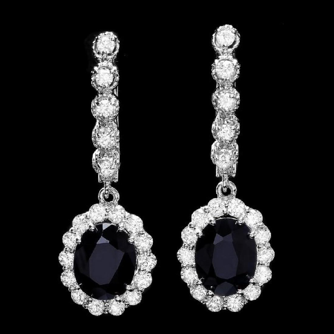 14k Gold 4ct Sapphire 1.35ct Diamond Earrings