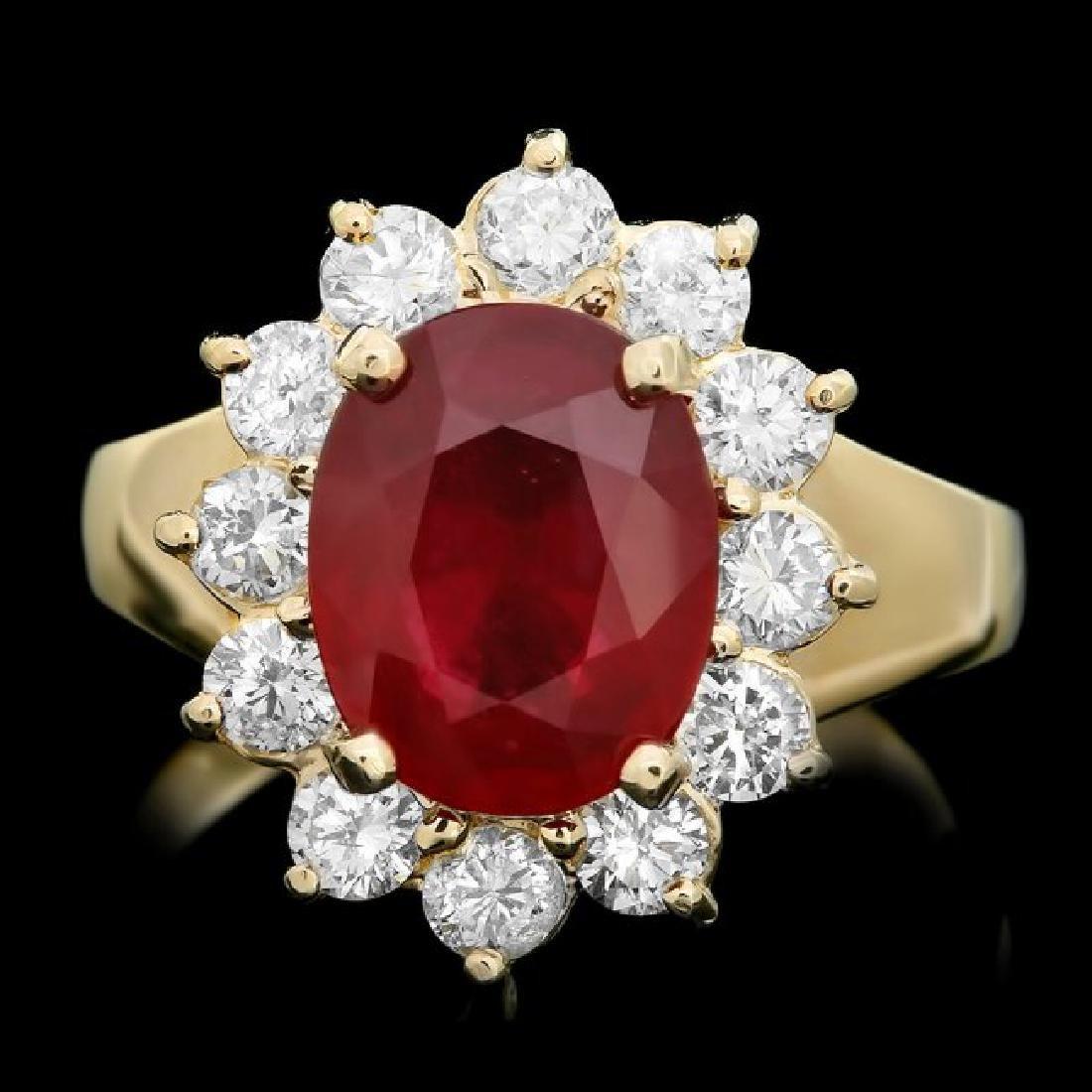 14k Yellow Gold 3.50ct Ruby 1.00ct Diamond Ring