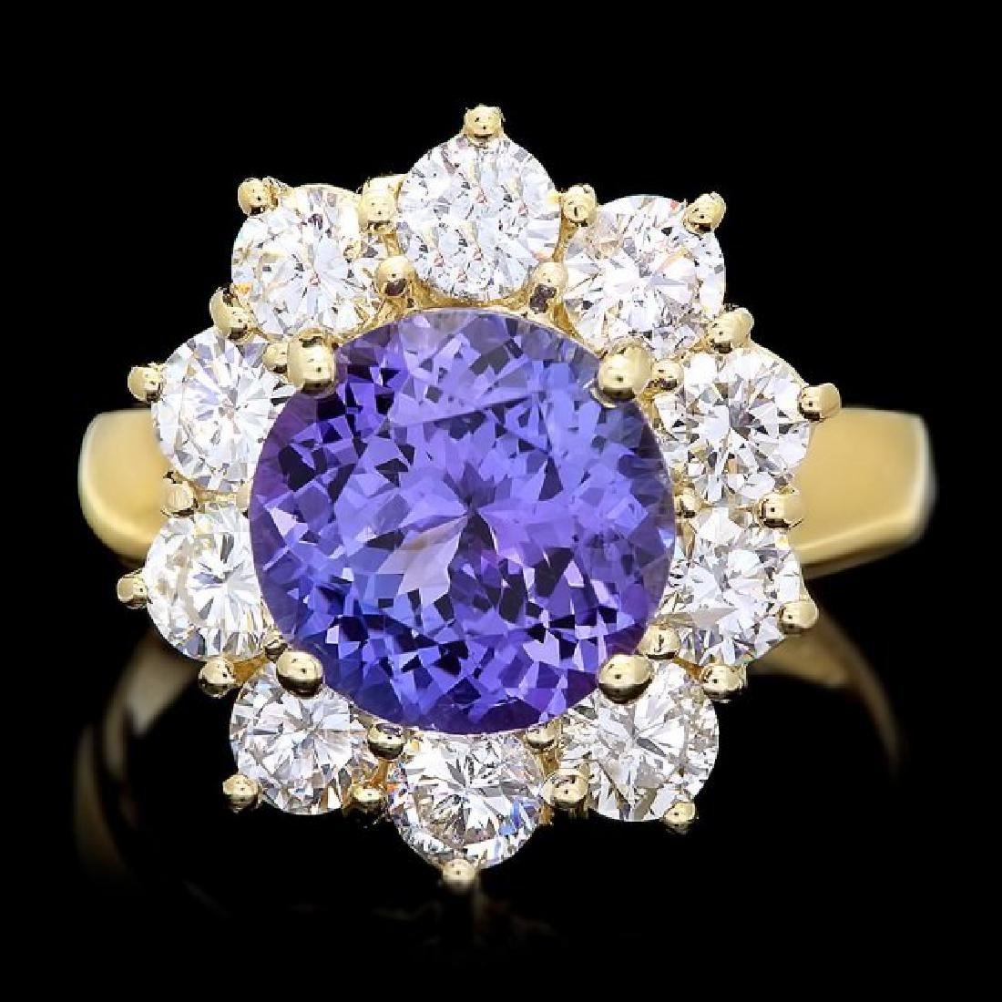 14k Gold 3.00ct Tanzanite 1.70ct Diamond Ring