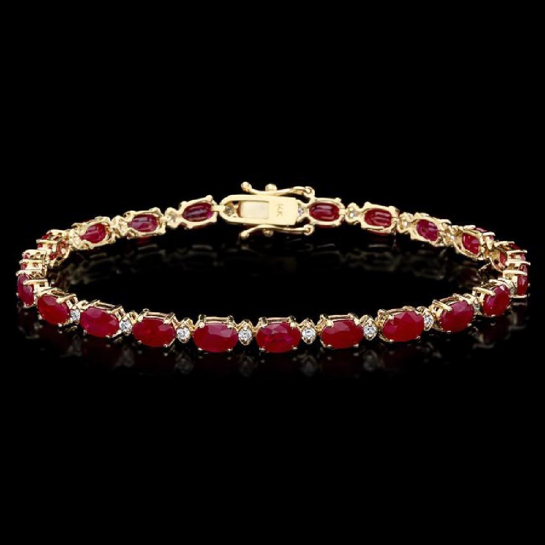 14k Yellow Gold 12ct Ruby 0.55ct Diamond Bracelet