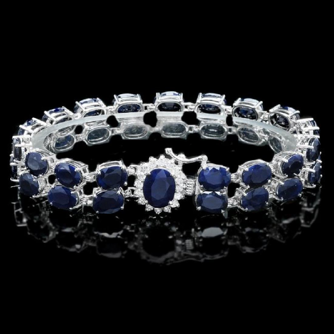 14k Gold 53.5ct Sapphire 0.55ct Diamond Bracelet