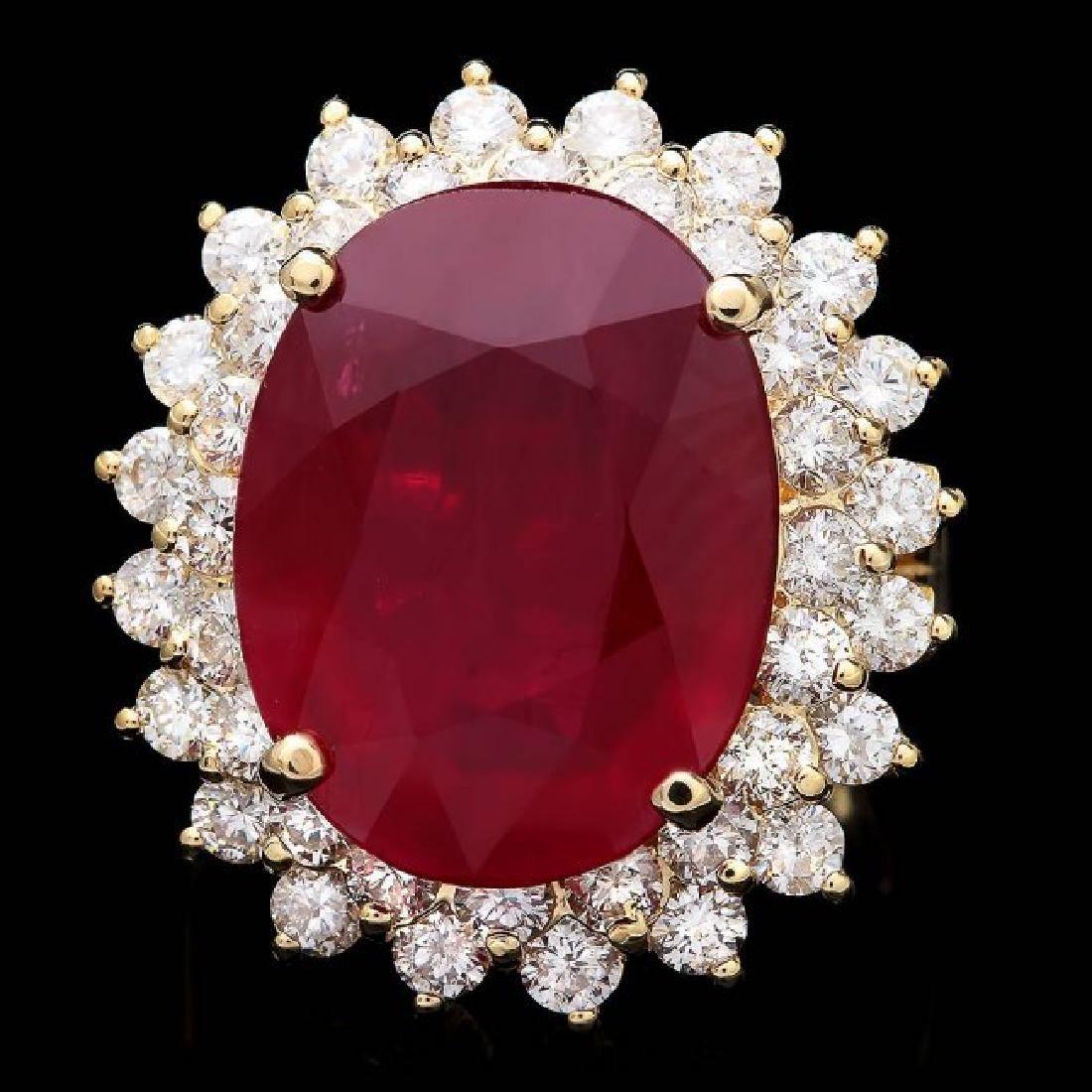 14k Yellow Gold 18.00ct Ruby 2.40ct Diamond Ring