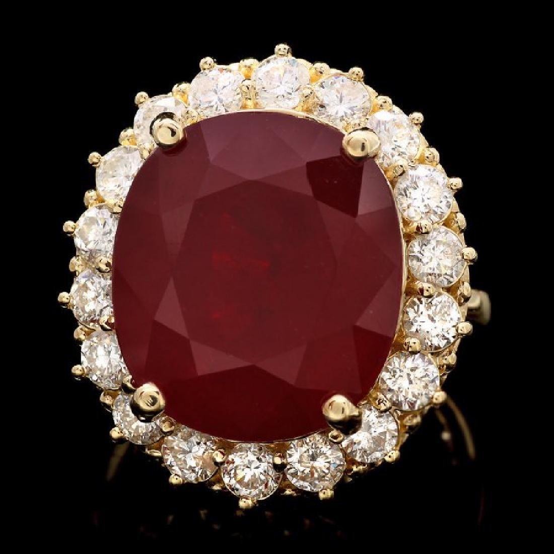 14k Yellow Gold 21.50ct Ruby 2.00ct Diamond Ring