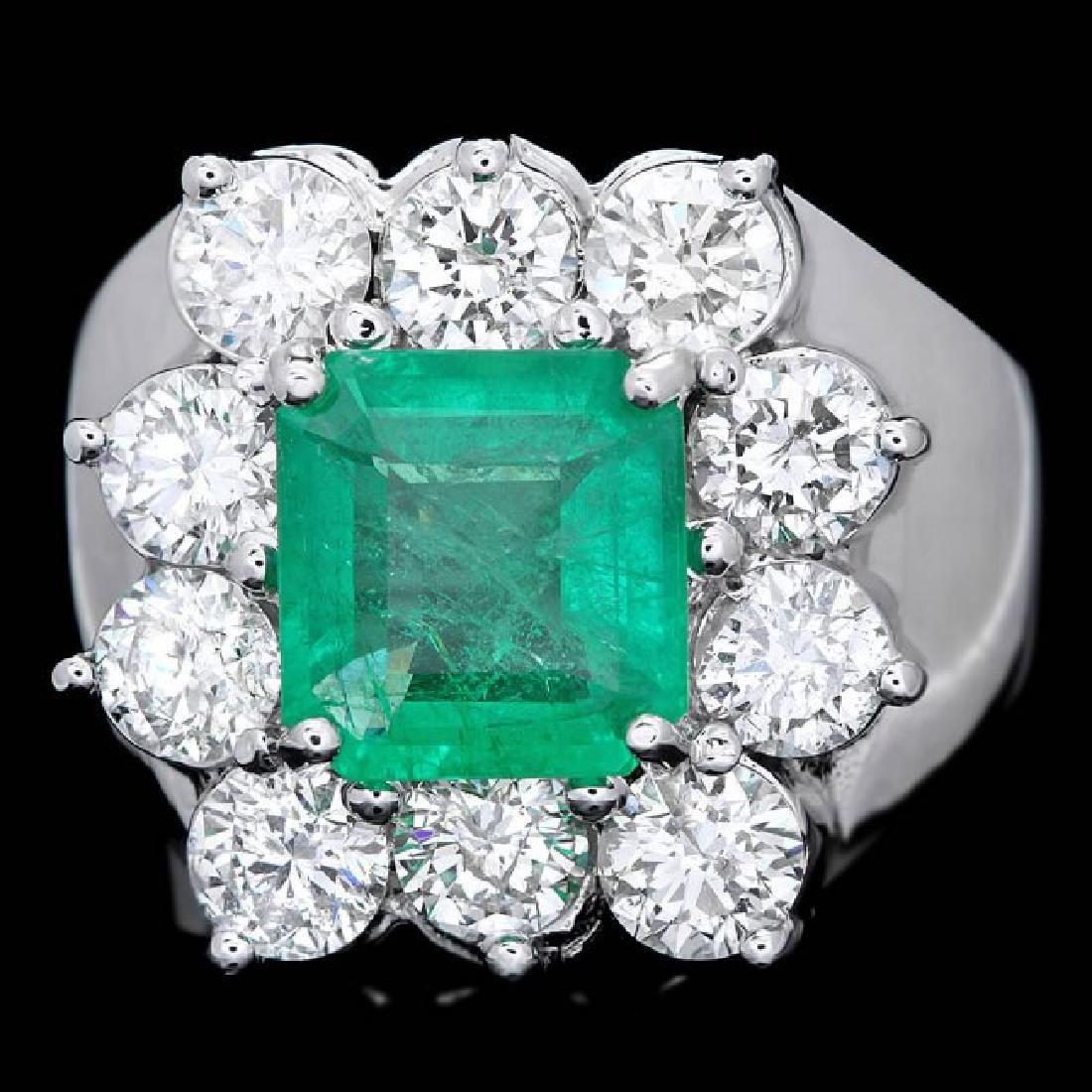 18k White Gold 2.00ct Emerald 2.60ct Diamond Ring