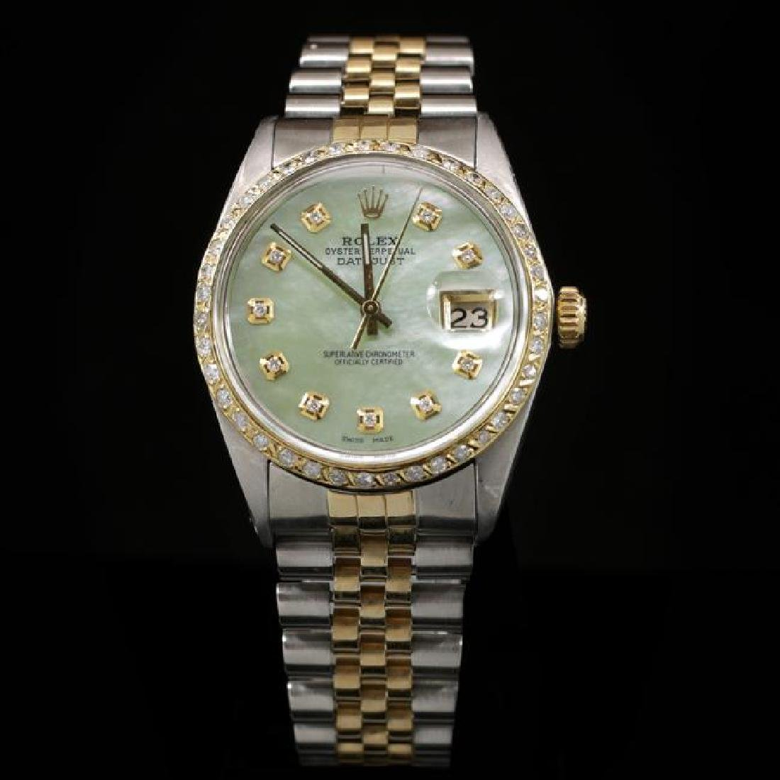 Rolex DateJust Two-Tone 36mm Custom Diamond Bezel Men's