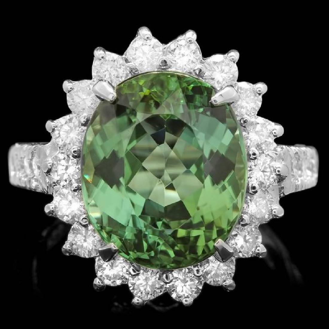 14k Gold 8.00ct Tourmaline 1.25ct Diamond Ring