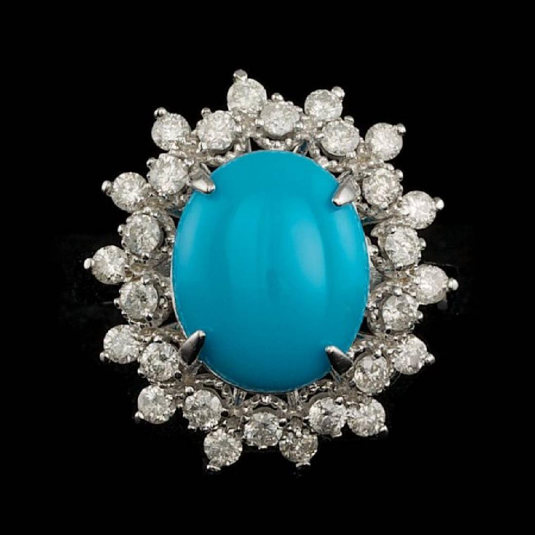 14k Gold 3.30ct Turquoise 0.75ct Diamond Ring