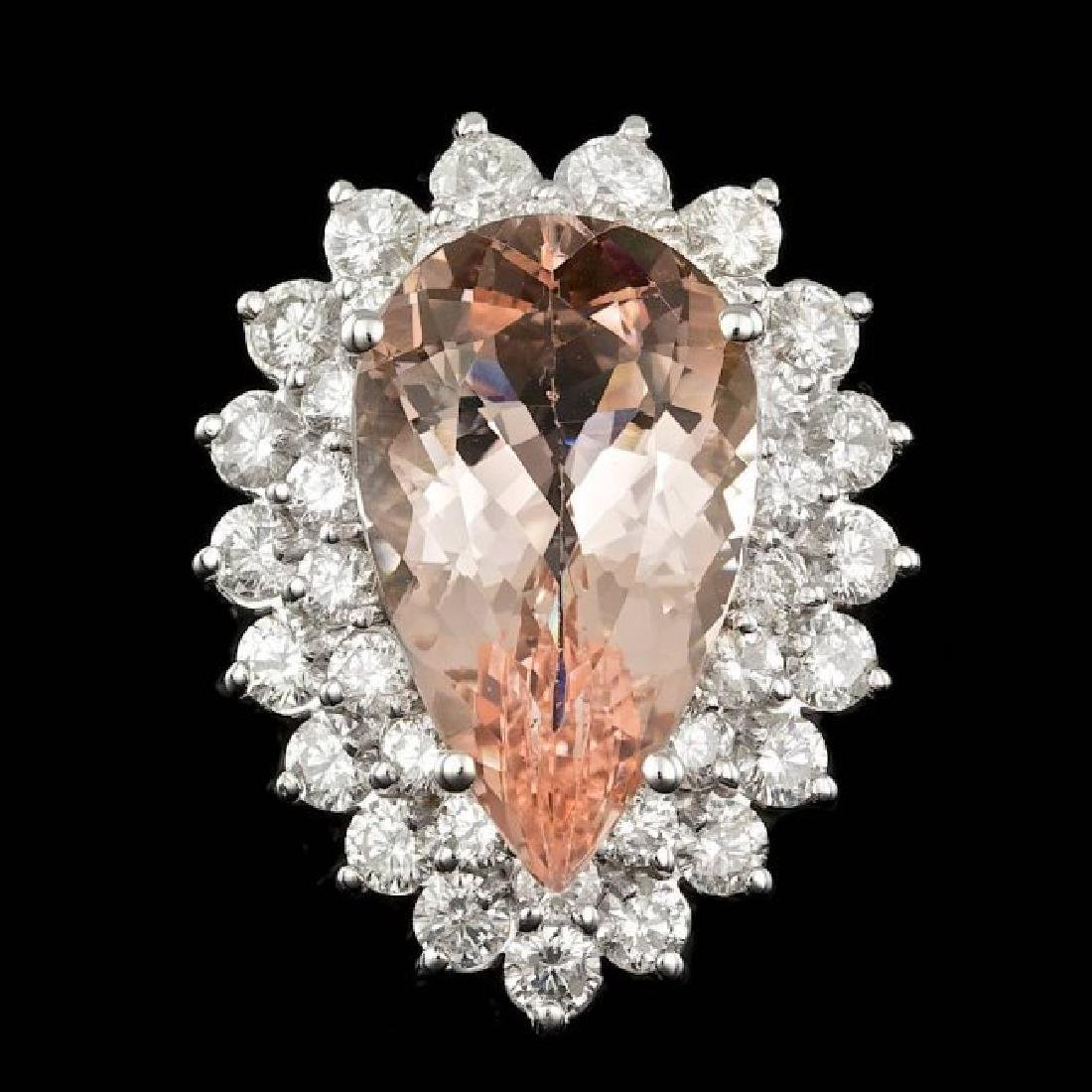 14k Gold 8.00ct Morganite 2.35ct Diamond Ring