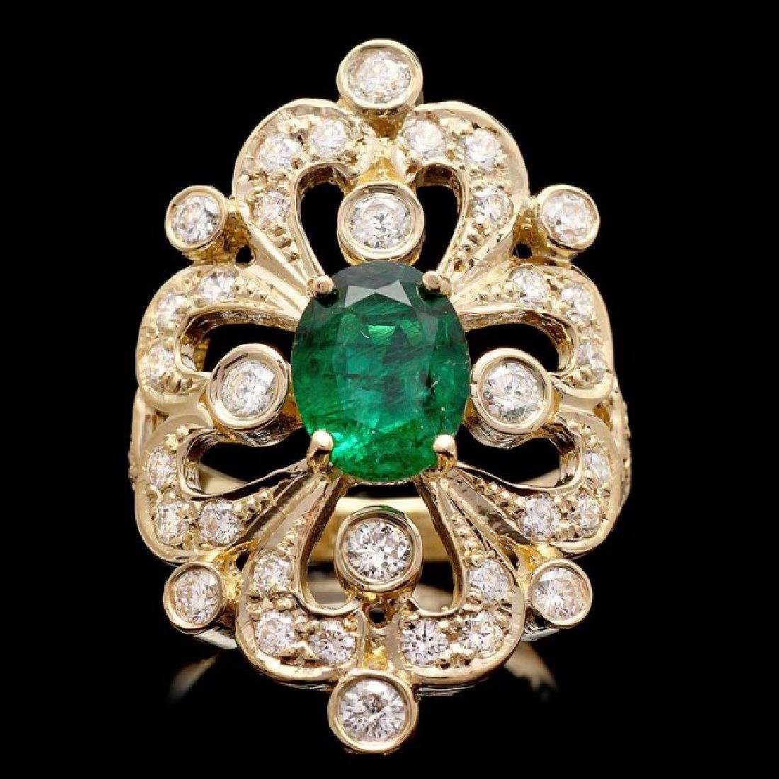 14k Gold 1.50ct Emerald 1.45ct Diamond Ring