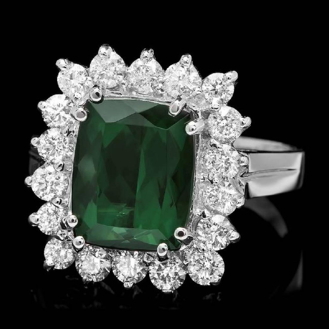 14k Gold 3.50ct Tourmaline 1.00ct Diamond Ring