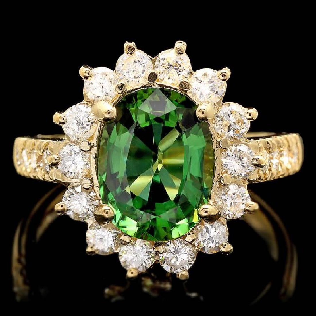 14k Gold 2.35ct Tourmaline 1.10ct Diamond Ring