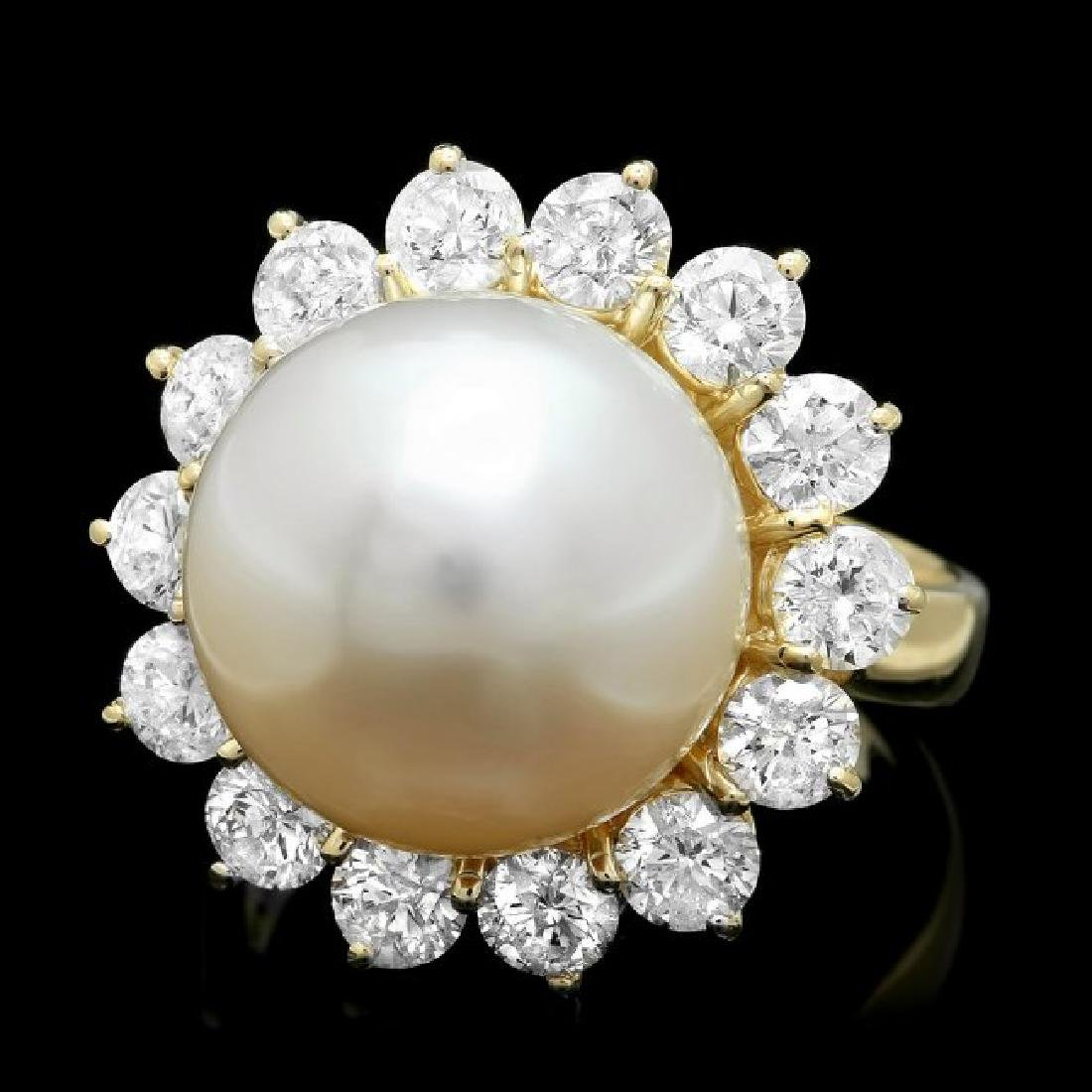 14k Gold 13 X 13mm Pearl 2.00ct Diamond Ring
