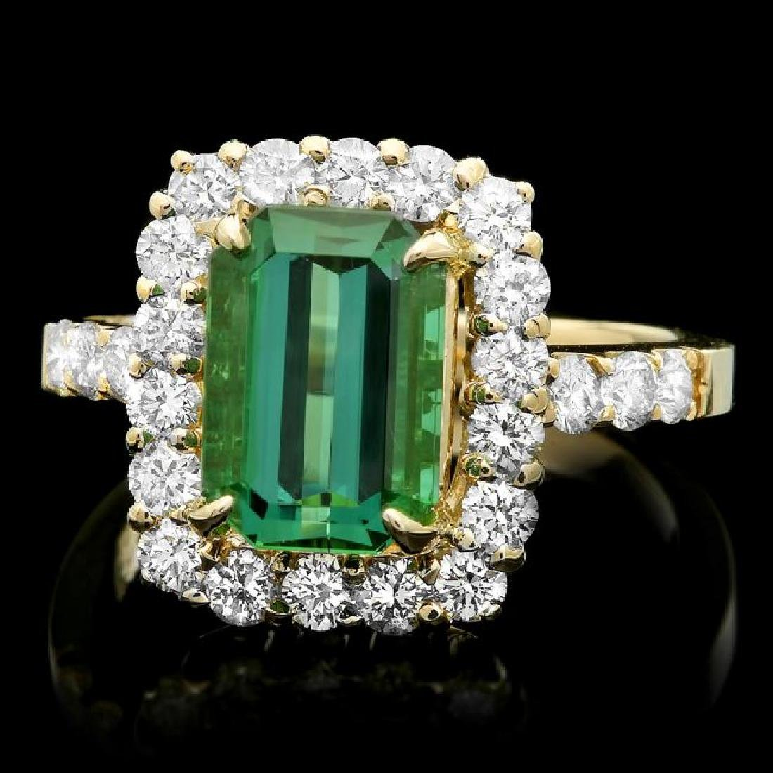 14k Gold 3.50ct Tourmaline 1.10ct Diamond Ring