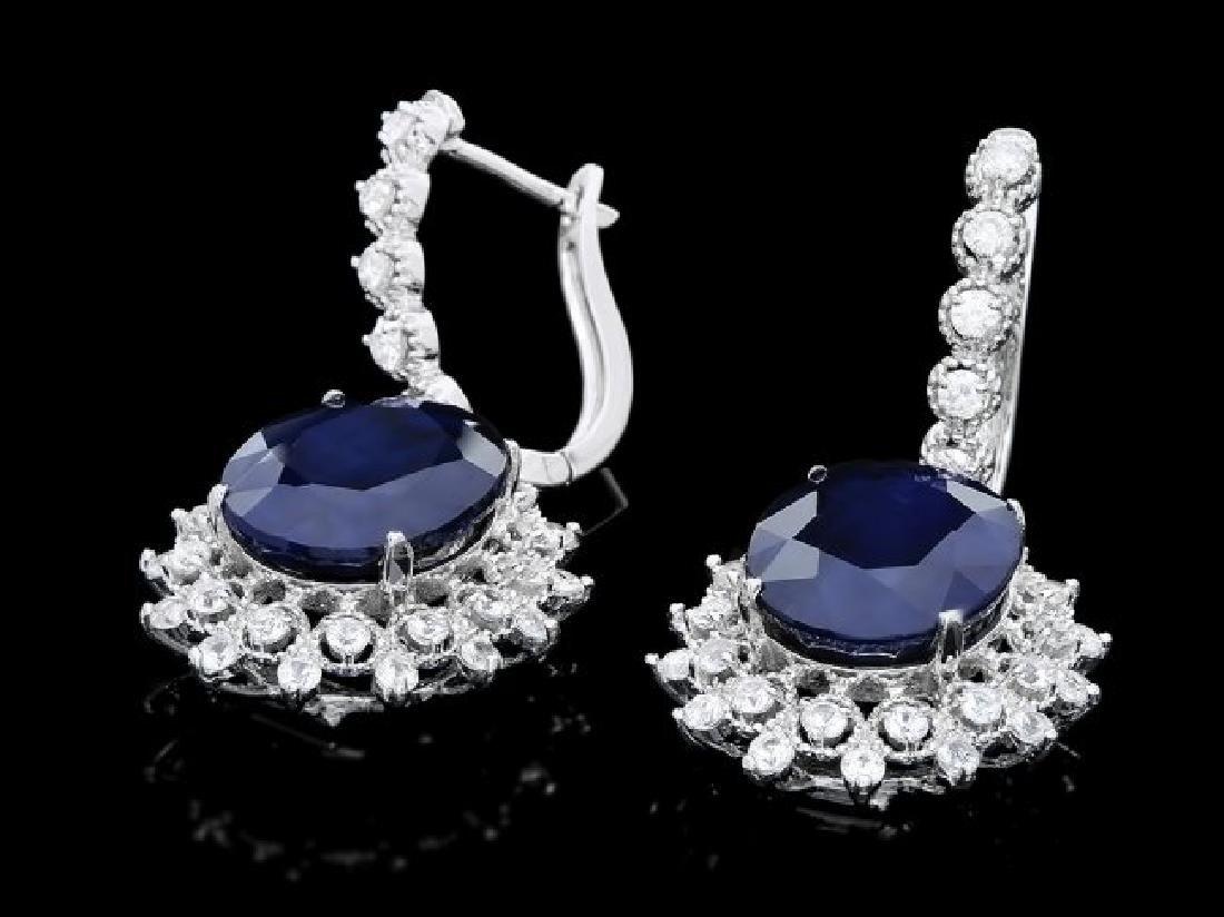 14k Gold 17.00ct Sapphire 2.00ct Diamond Earrings