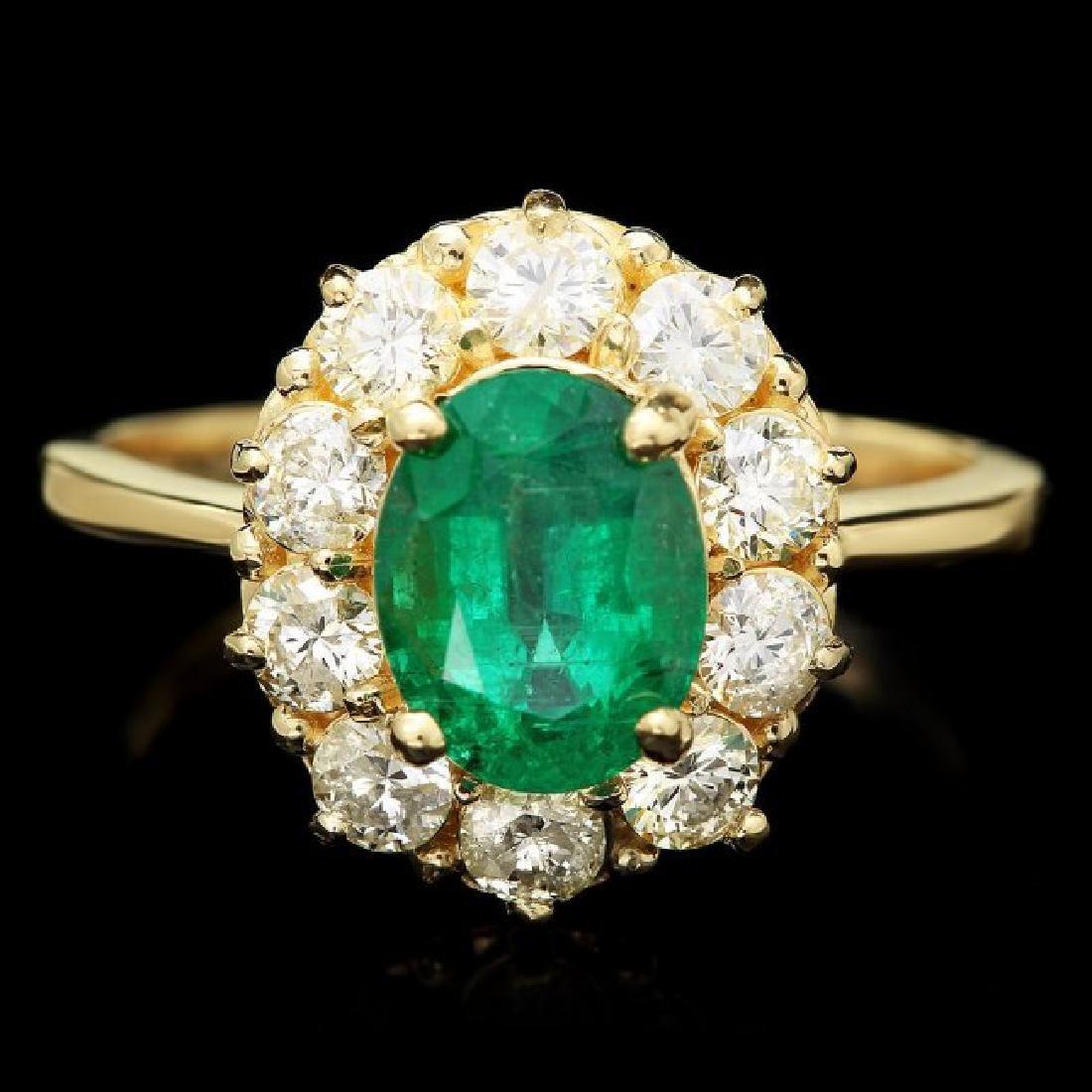 14k Gold 1.80ct Emerald 1.00ct Diamond Ring