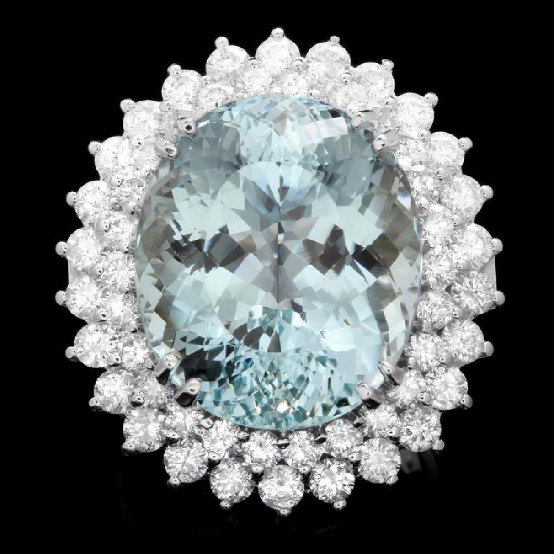 14k Gold 18.00ct Aquamarine 2.80ct Diamond Ring