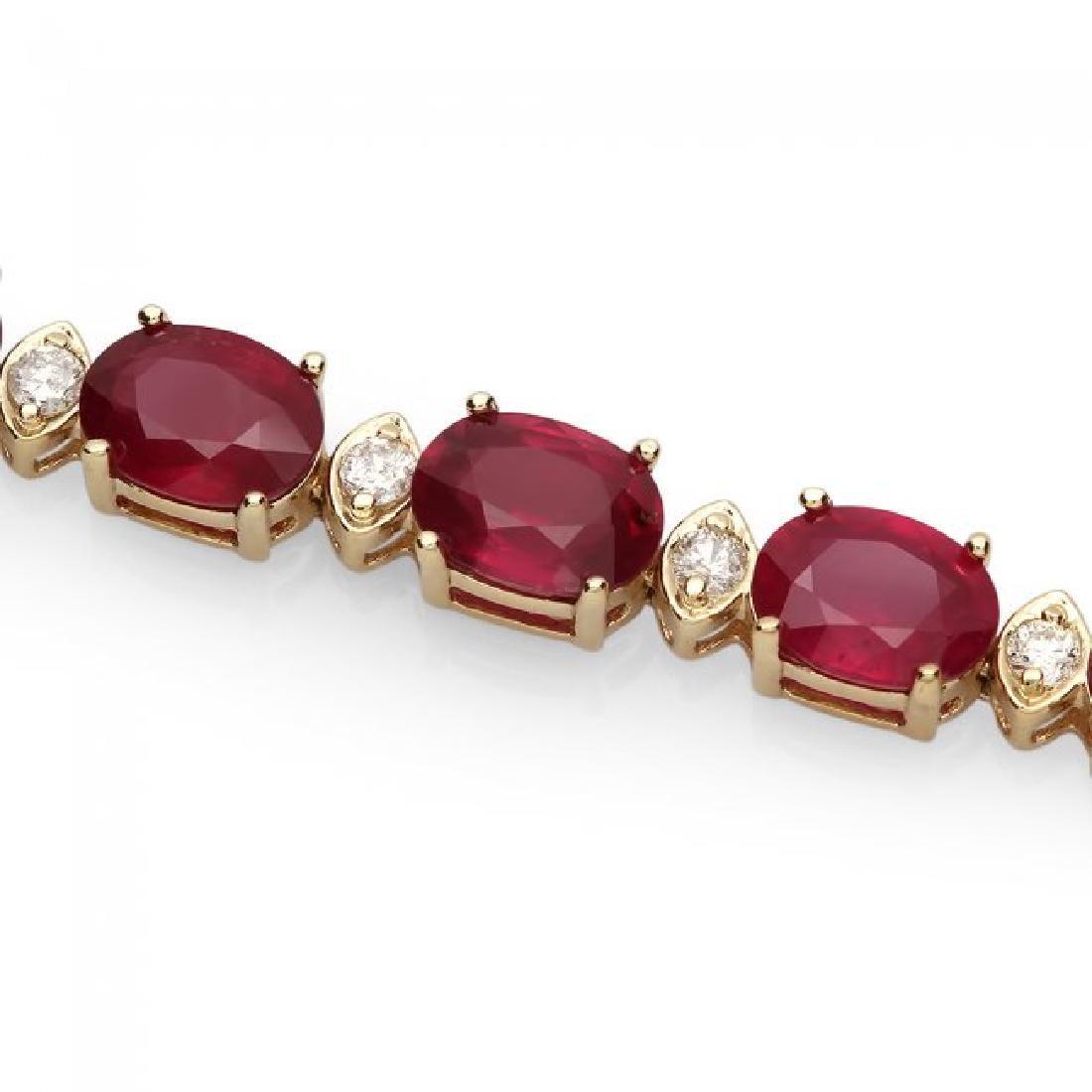14k Gold 27.50ct Ruby 0.90ct Diamond Bracelet