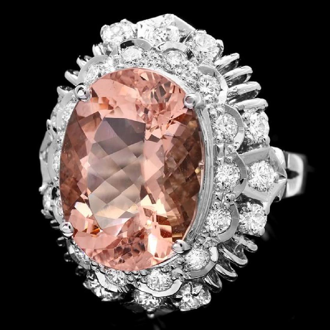 14k Gold 8.50ct Morganite 1.40ct Diamond Ring