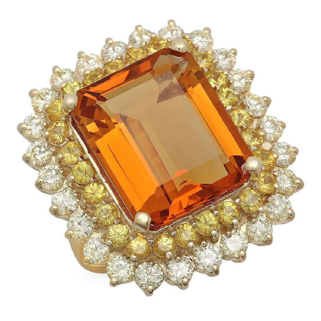 14K Gold 13.81ct Citrine 1.97ct Sapphire 2.39ct Diamond