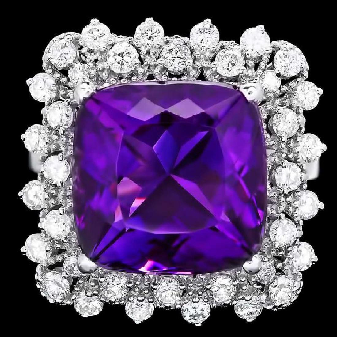 14k Gold 8.00ct Amethyst 1.00ct Diamond Ring