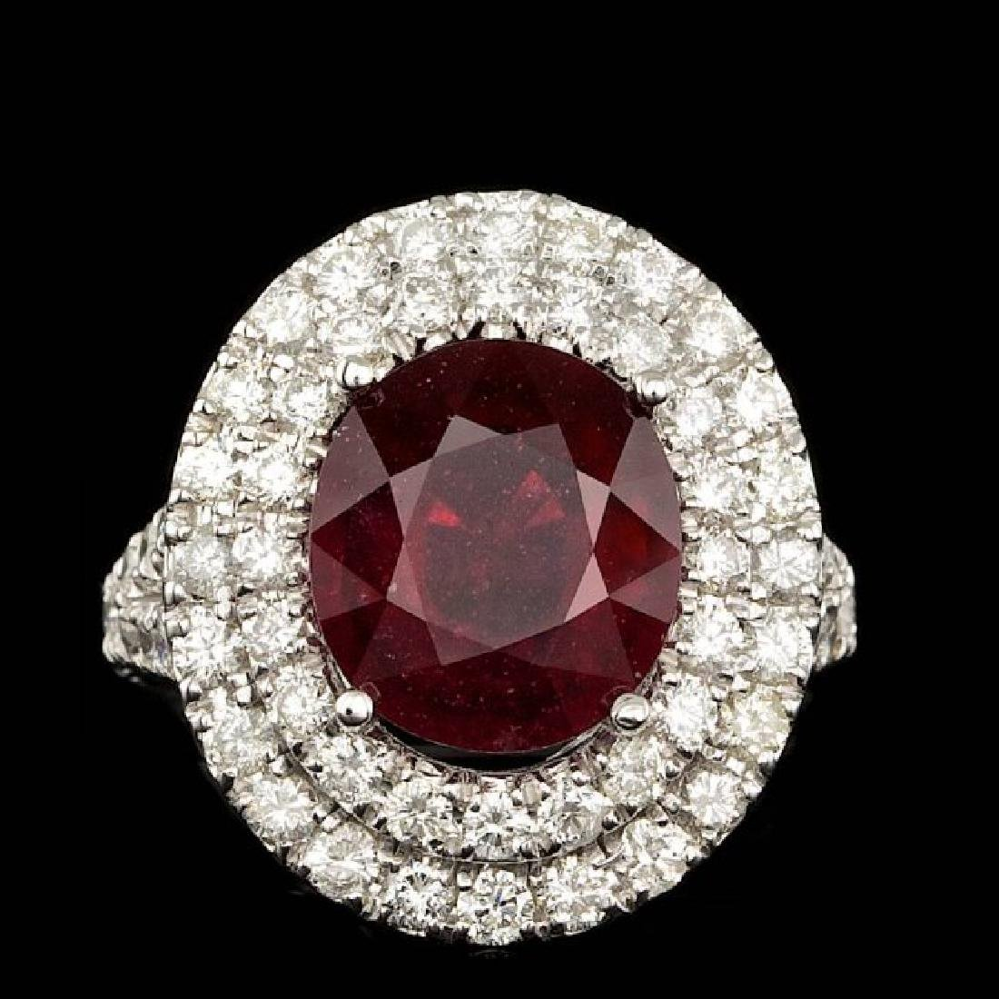 14k White Gold 5.50ct Ruby 2.15ct Diamond Ring