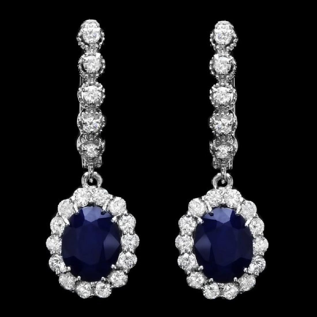 14k Gold 5.00ct Sapphire 1.35ct Diamond Earrings