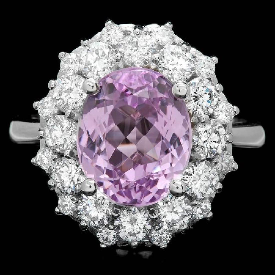 14k White Gold 4.50ct Kunzite 1.60ct Diamond Ring