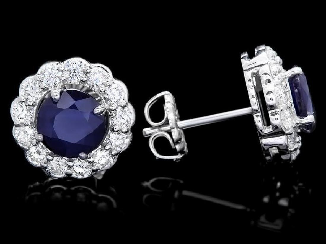 14k Gold 3ct Sapphire 1.15ct Diamond Earrings