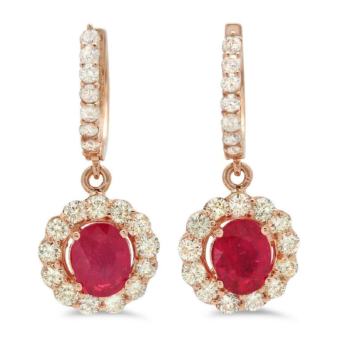 14K Gold 2.97ct Ruby 2.15cts Diamond Earrings