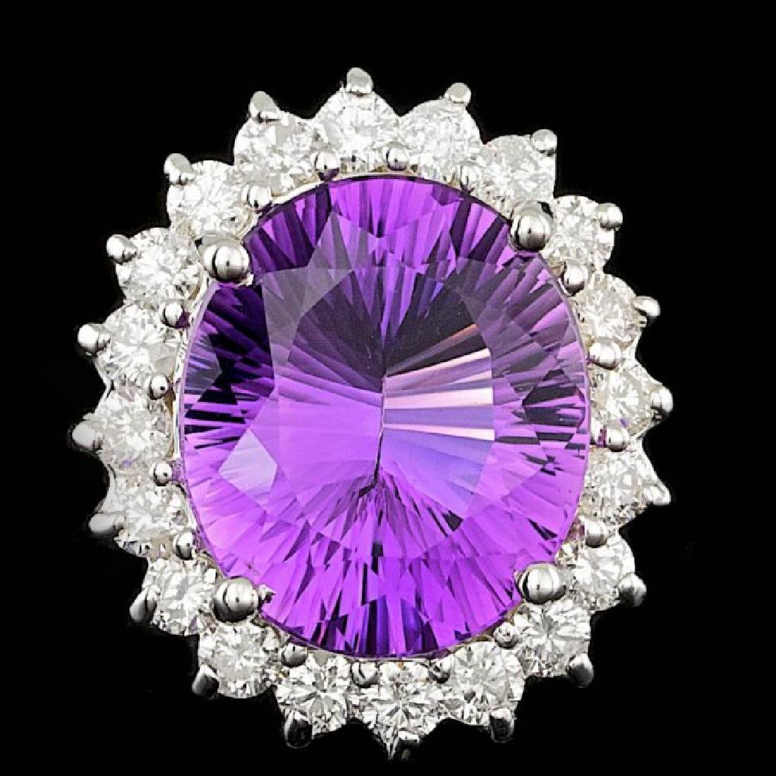 14k Gold 5.00ct Amethyst 1.00ct Diamond Ring