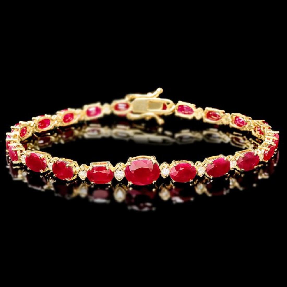 14k Gold 16.00ct Ruby 0.80ct Diamond Bracelet