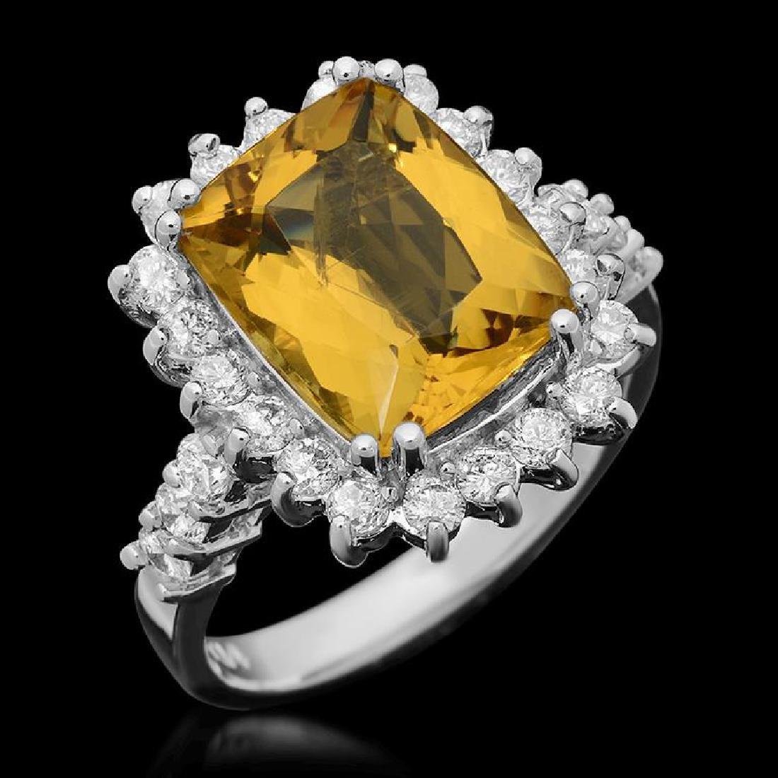 14k Gold 4.57ct Yellow Beryl 1.10ct Diamond Ring