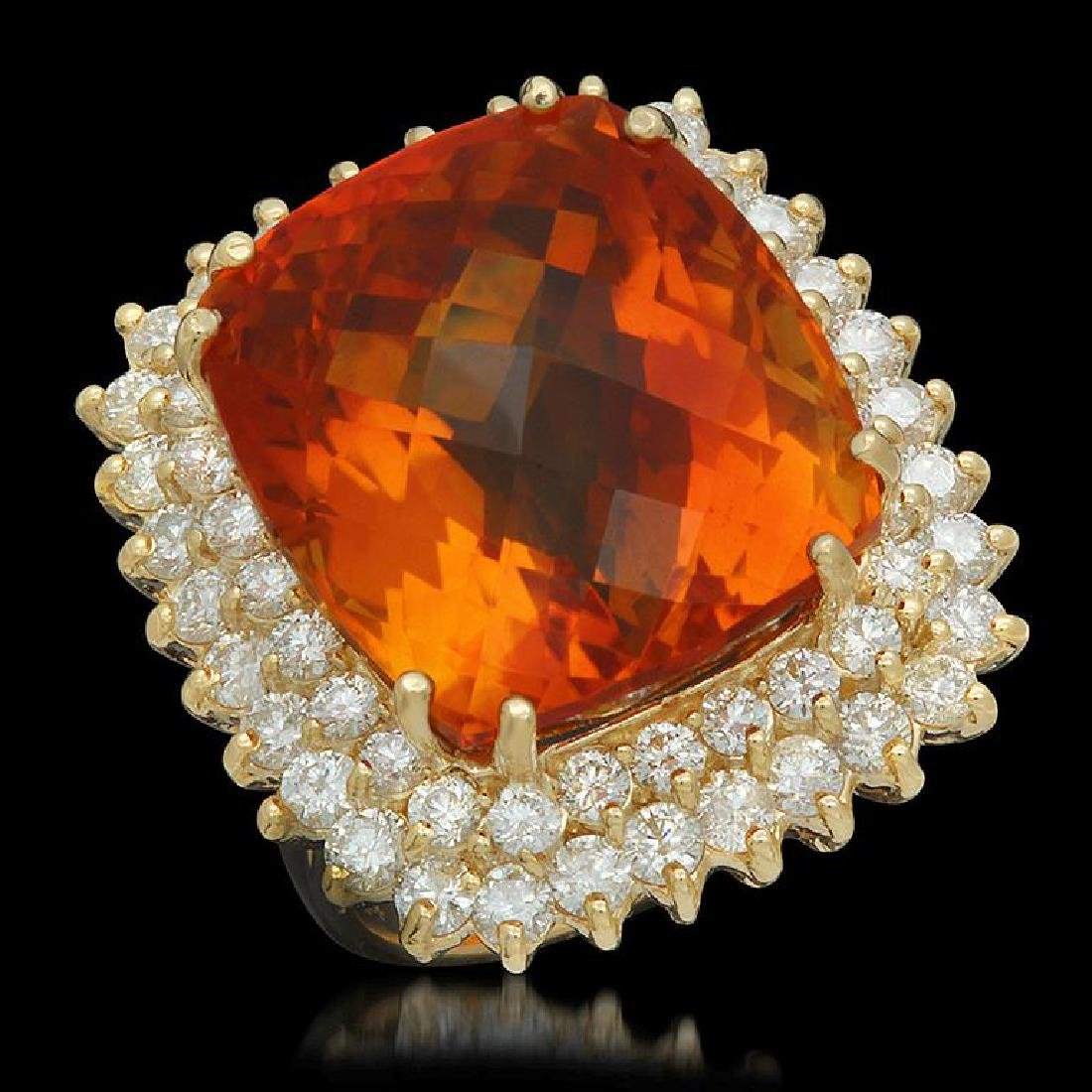 14K Gold 27.43ct Citrine 2.92ct Diamond Ring