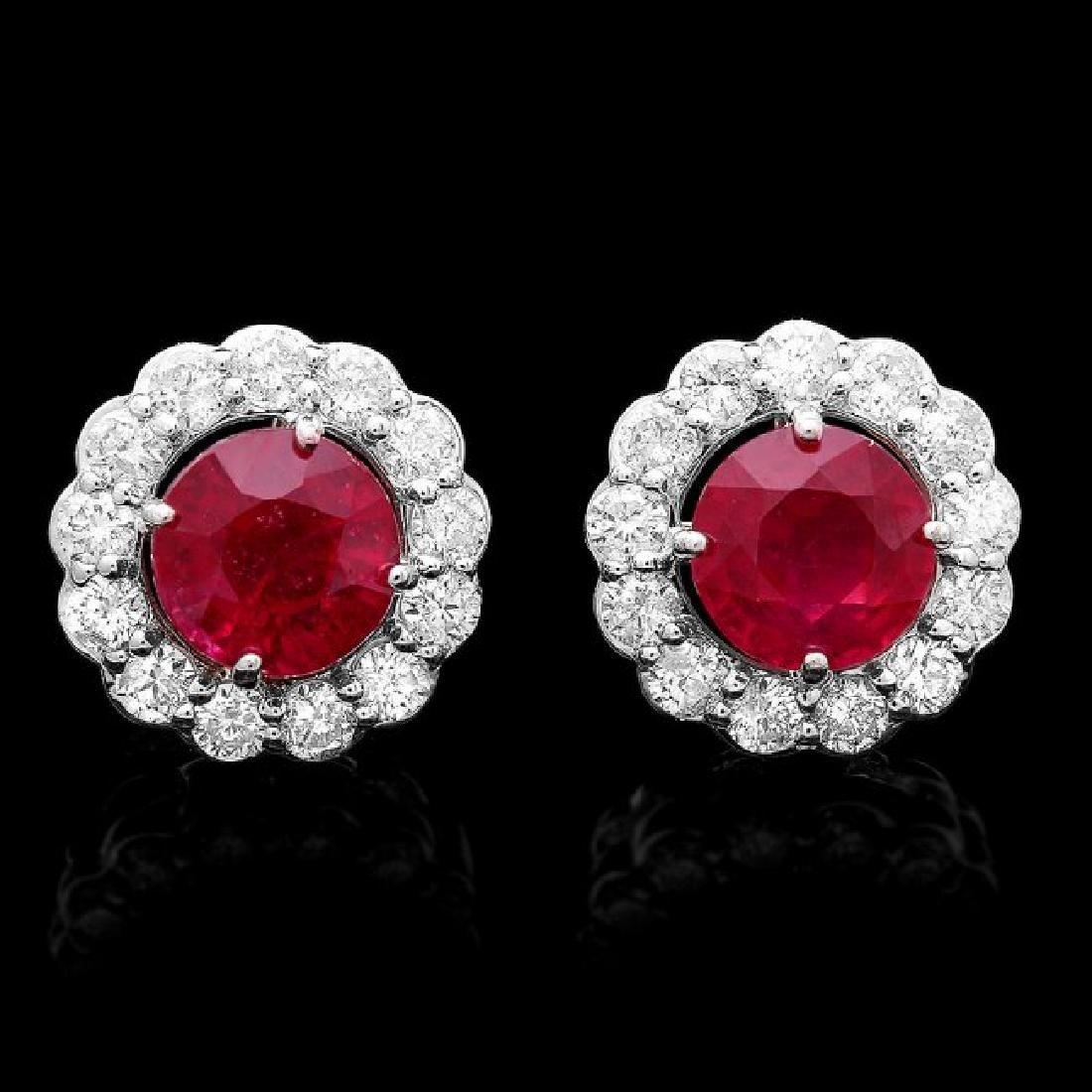 14k Gold 3.80ct Ruby 1.20ct Diamond Earrings