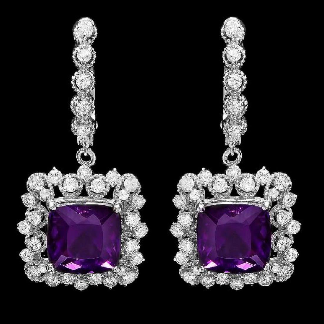 14k Gold 10.00ct Amethyst 2.00ct Diamond Earrings