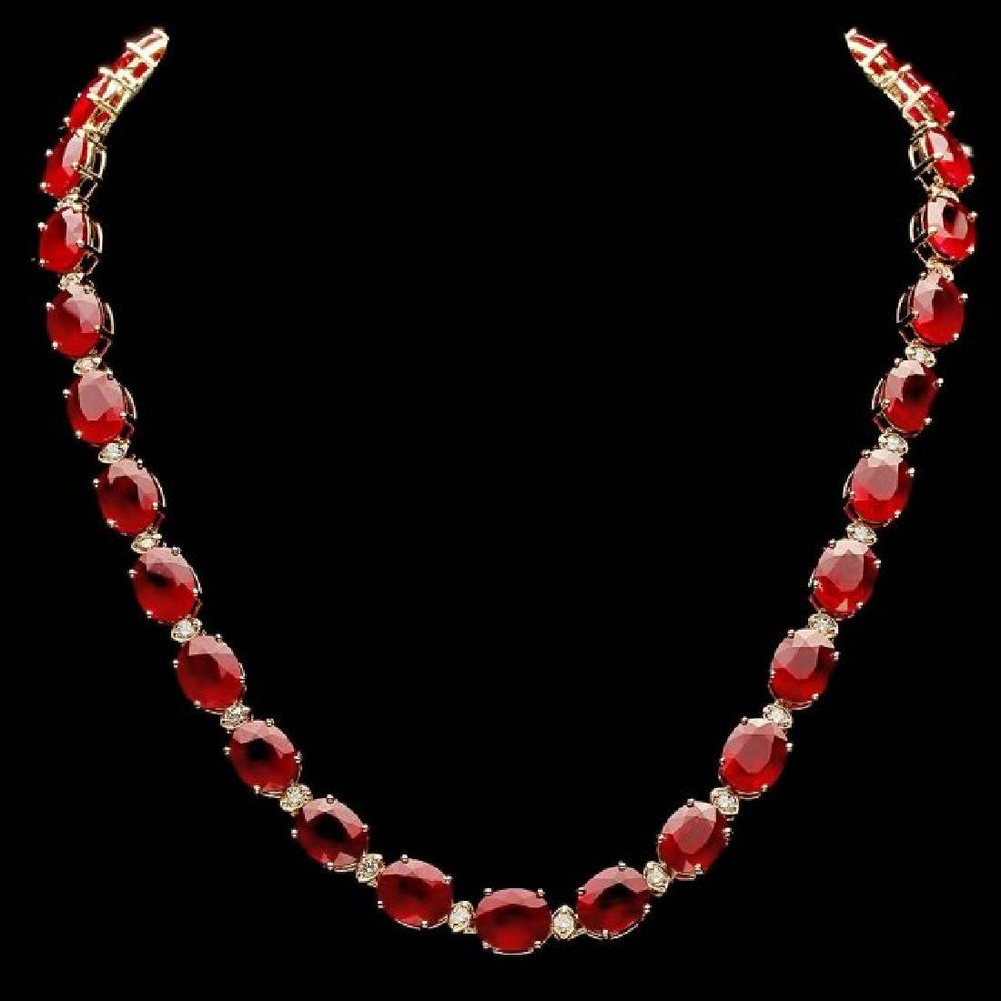 14k Gold 112.00ct Ruby 1.80ct Diamond Necklace