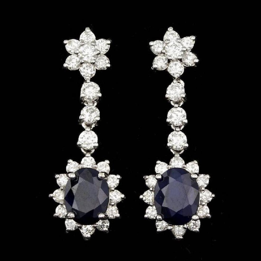 14k Gold 4.50ct Sapphire 2.35ct Diamond Earrings
