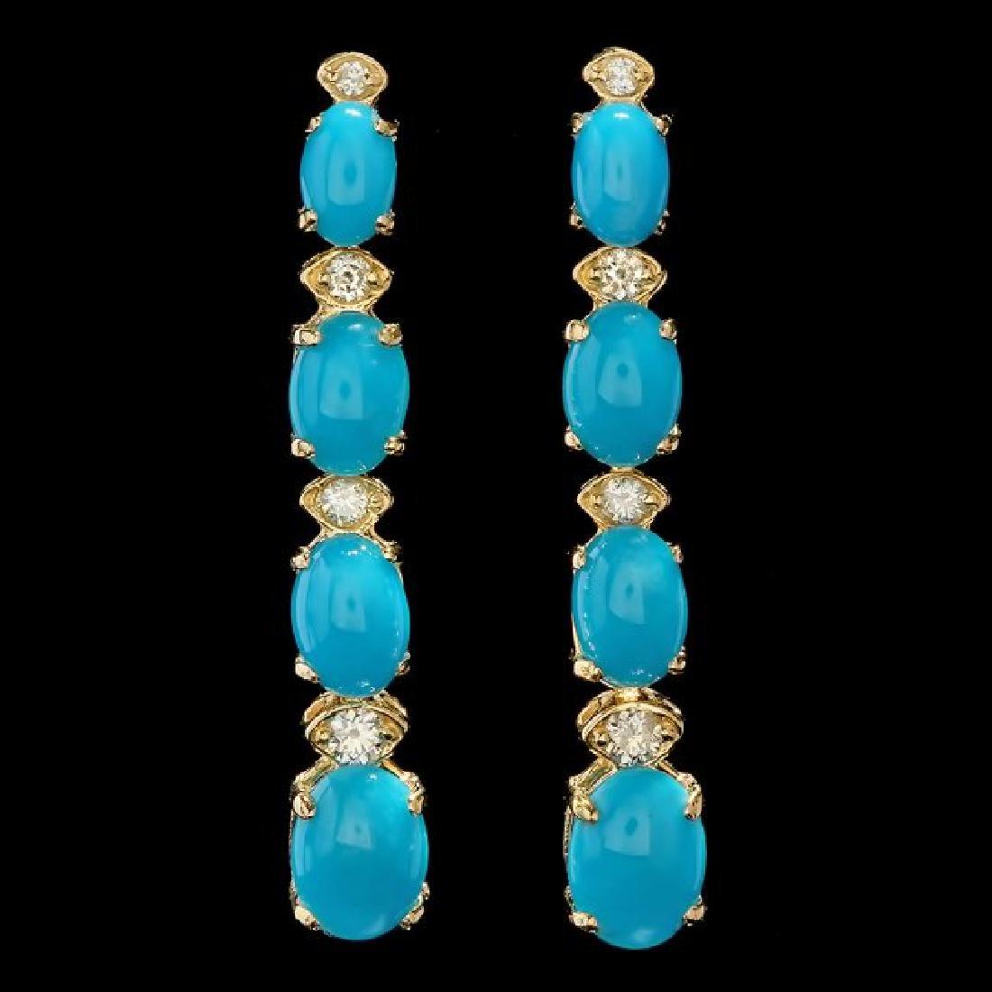 14k Gold 5.50ct Turquoise 0.35ct Diamond Earrings