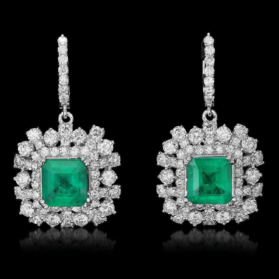 14K Gold 5.68ct Emerald 5.75ct Diamond Earrings
