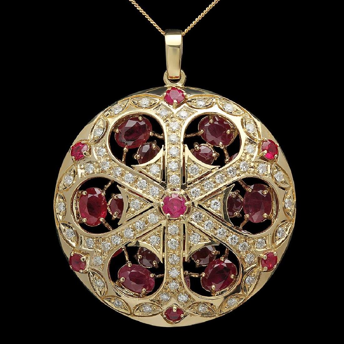 14K Gold 16.40ct Ruby 1.94ct Diamond Pendant