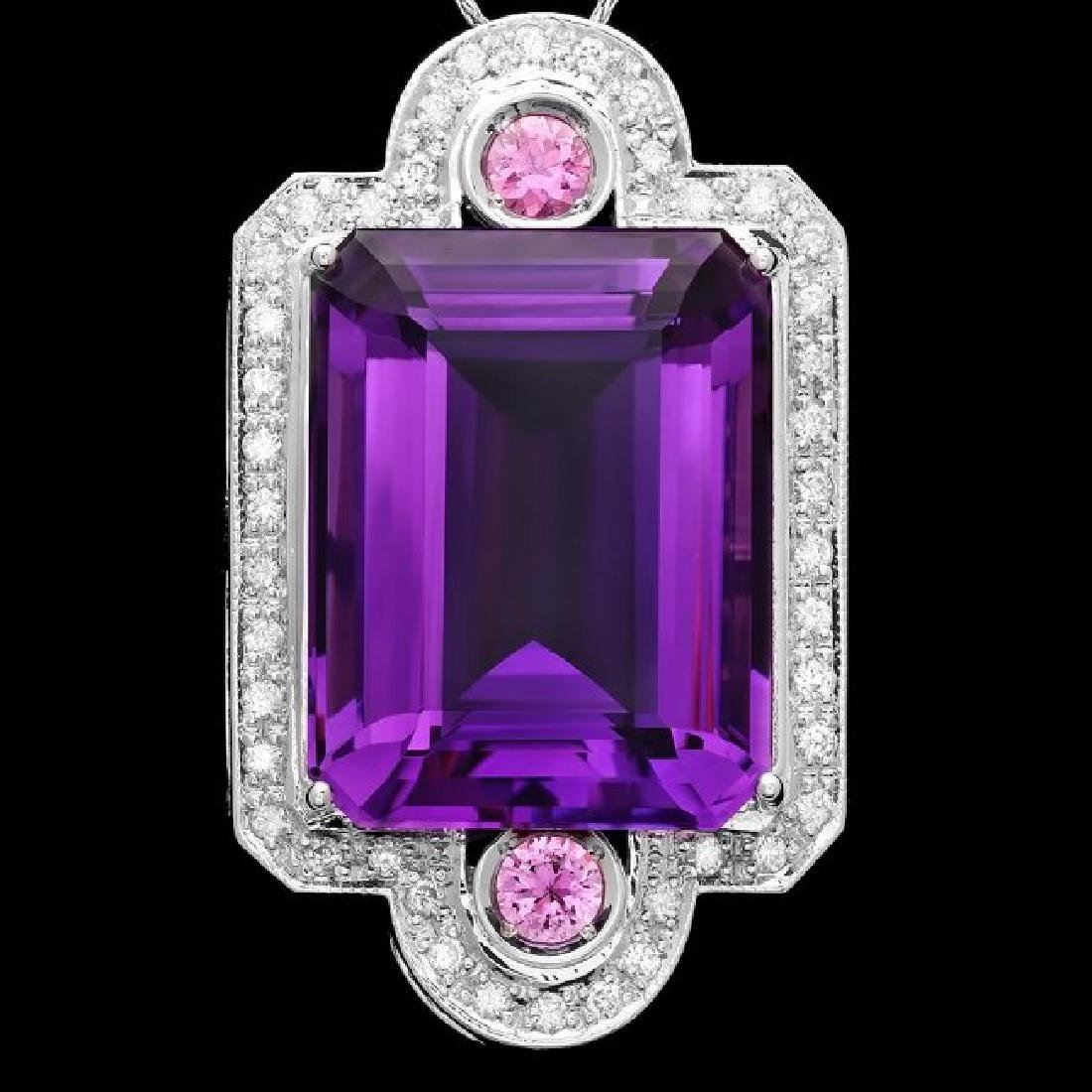 14k Gold 43ct Amethyst 0.85ct Diamond Pendant