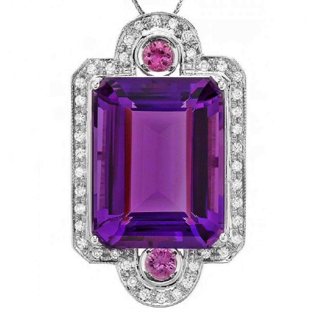 14k Gold 43ct Amethyst 0.85ct Diamond Pendant - 2