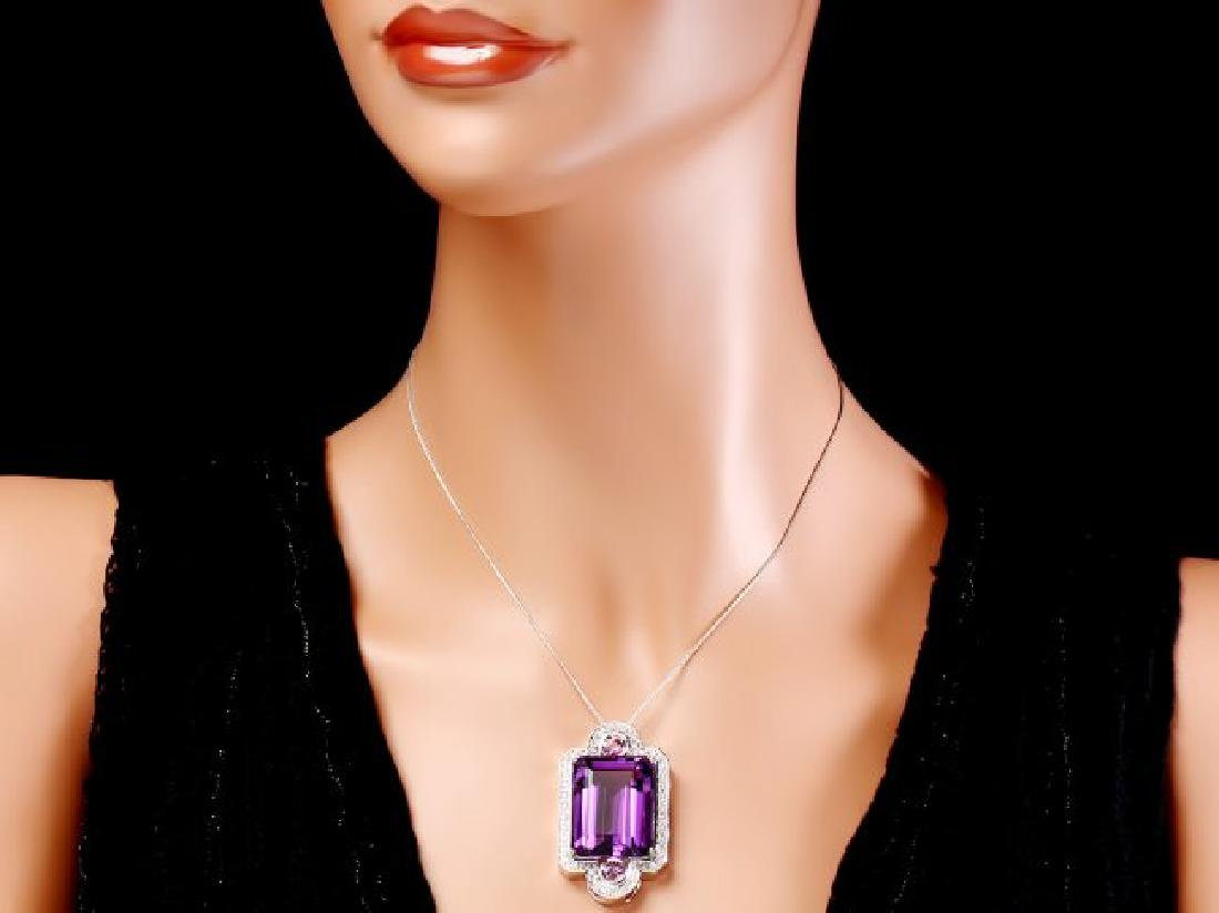 14k Gold 43ct Amethyst 0.85ct Diamond Pendant - 3