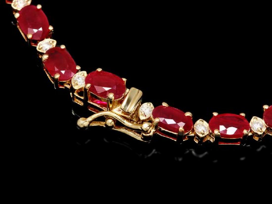 14k Gold 28.00ct Ruby 1.20ct Diamond Necklace - 4