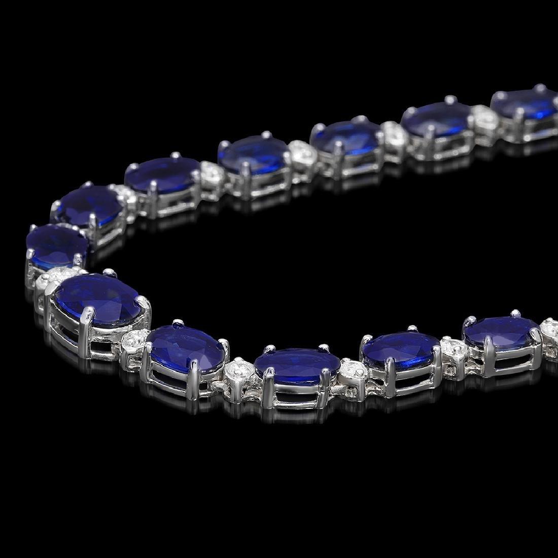 14K Gold 38.53ct Sapphire 1.70ct Diamond Necklace - 2