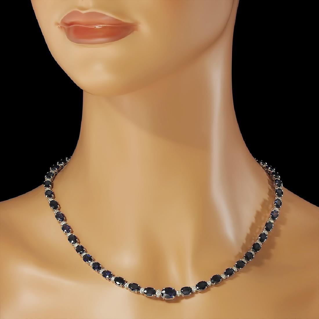 14K Gold 38.53ct Sapphire 1.70ct Diamond Necklace - 3